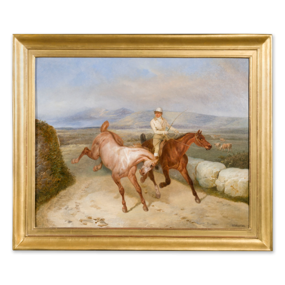 A Groom Exercising two Horses in an Upland Landscape Image 1