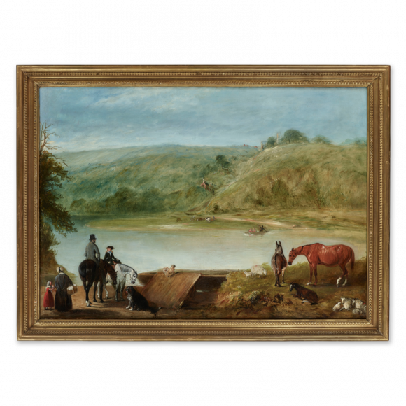 View of Mar Lodge, Aberdeenshire, with figures waiting by the ferry Image 2