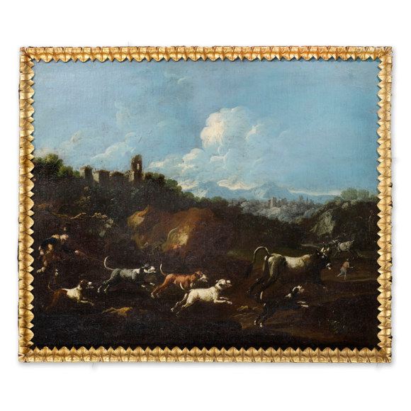Landscape with a Stag Hunt & Landscape with Wild Bulls - a pair Image 1