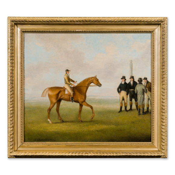 Racing Scene – A Racehorse with Jockey up approaching a group of gentlemen Image 1