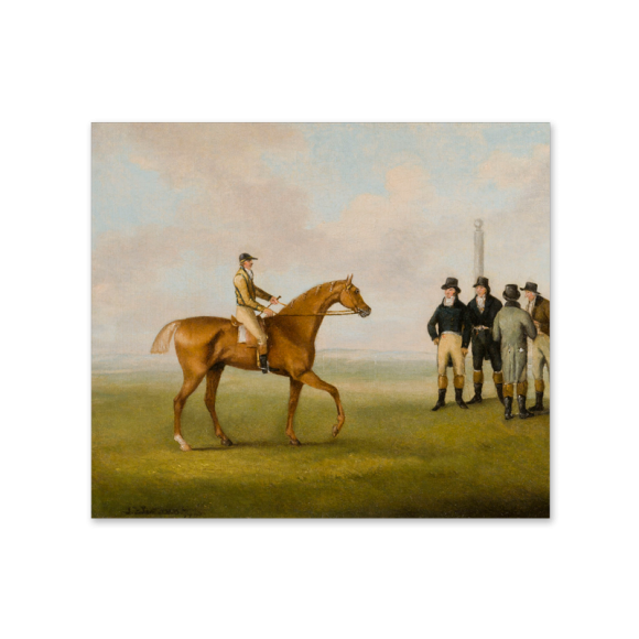 Racing Scene – A Racehorse with Jockey up approaching a group of gentlemen Image 2