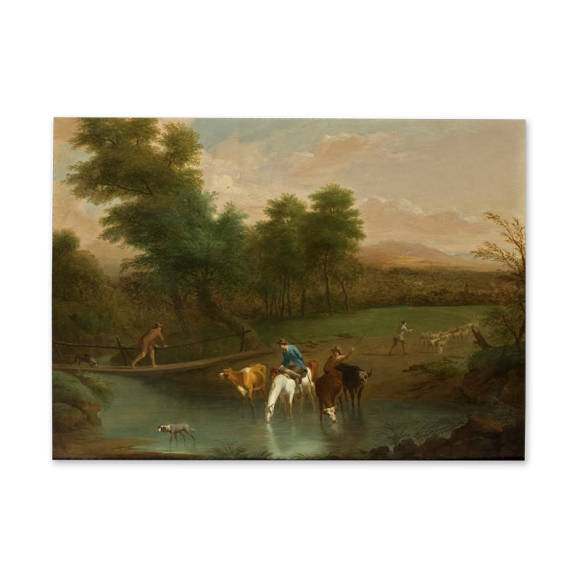 Landscape with Herdsman watering cattle in the foreground Image 2