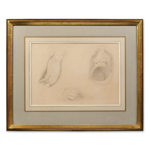 """Recto: Three Studies of Hands, One holding an Ear Trumpet, Study for The Cotter's Saturday Night (1837) / Inscribed verso: """"Bought at the Sale of Sir David Wilkie's Works at Christie's Rooms April 26th, 1842"""" 2 Image 1"""