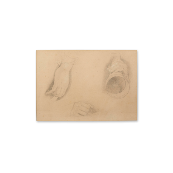 """Recto: Three Studies of Hands, One holding an Ear Trumpet, Study for The Cotter's Saturday Night (1837) / Inscribed verso: """"Bought at the Sale of Sir David Wilkie's Works at Christie's Rooms April 26th, 1842"""" 2 Image 2"""