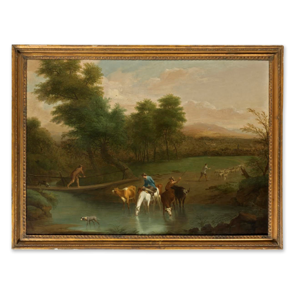 Landscape with Herdsman watering cattle in the foreground Image 1