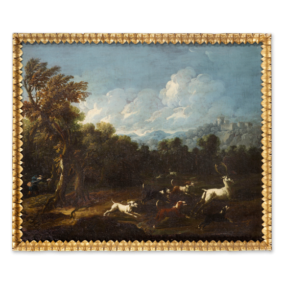 Landscape with a Stag Hunt & Landscape with Wild Bulls - a pair Image 4
